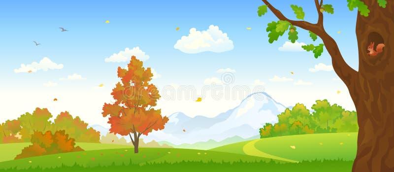 Autumn Forest Panorama royaltyfri illustrationer