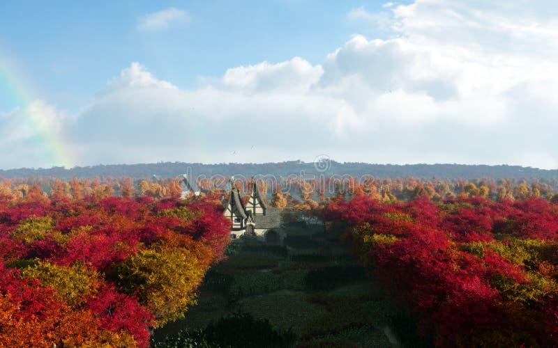 Autumn Forest Of Rainbow Country Town ilustração do vetor