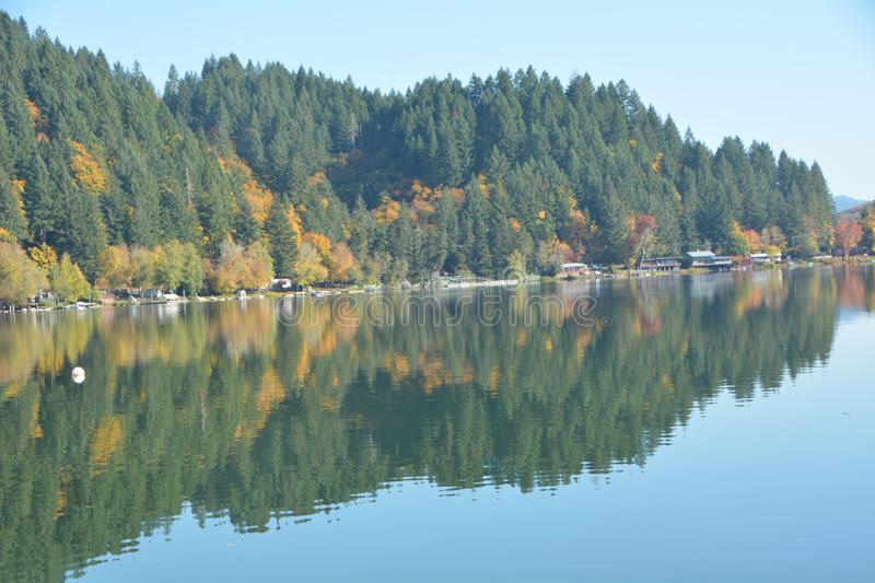 Autumn forest reflection on Triangle Lake, Oregon. Autumn trees are reflected on the calm surface of Triangle Lake, Oregon royalty free stock photography