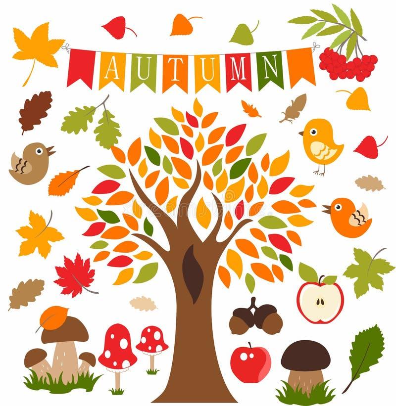Autumn forest, set, icon, pictogram, vektor royalty free stock photo