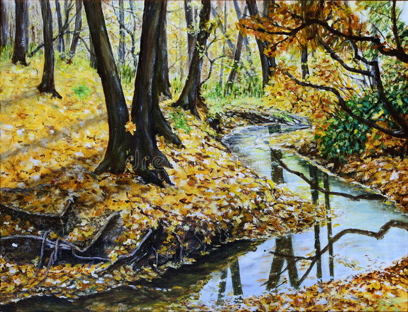 Autumn forest with a stream original landscape royalty free illustration
