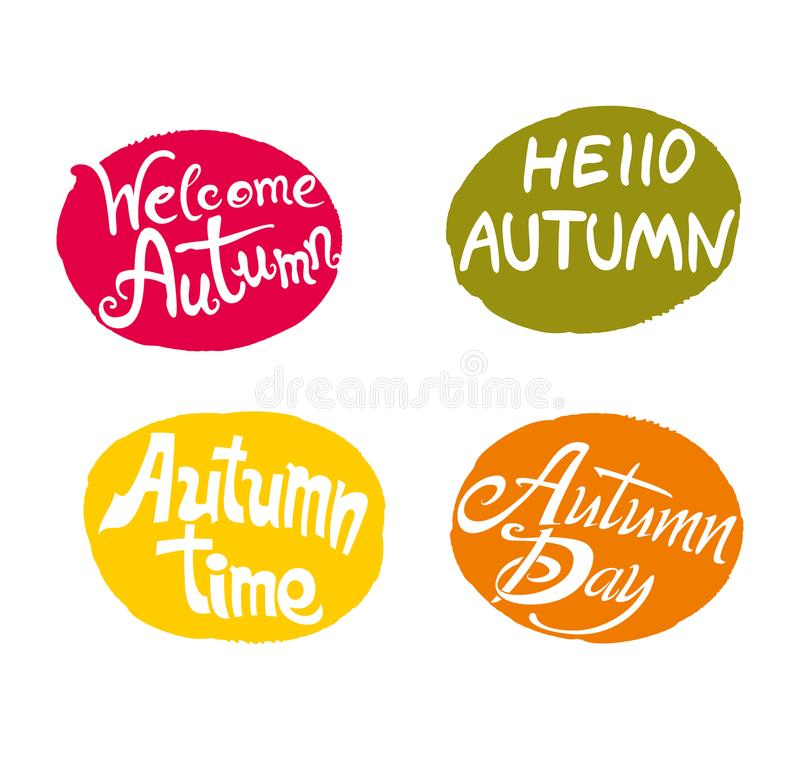 Autumn. Four bright multicolored templates welcome labels. stock illustration