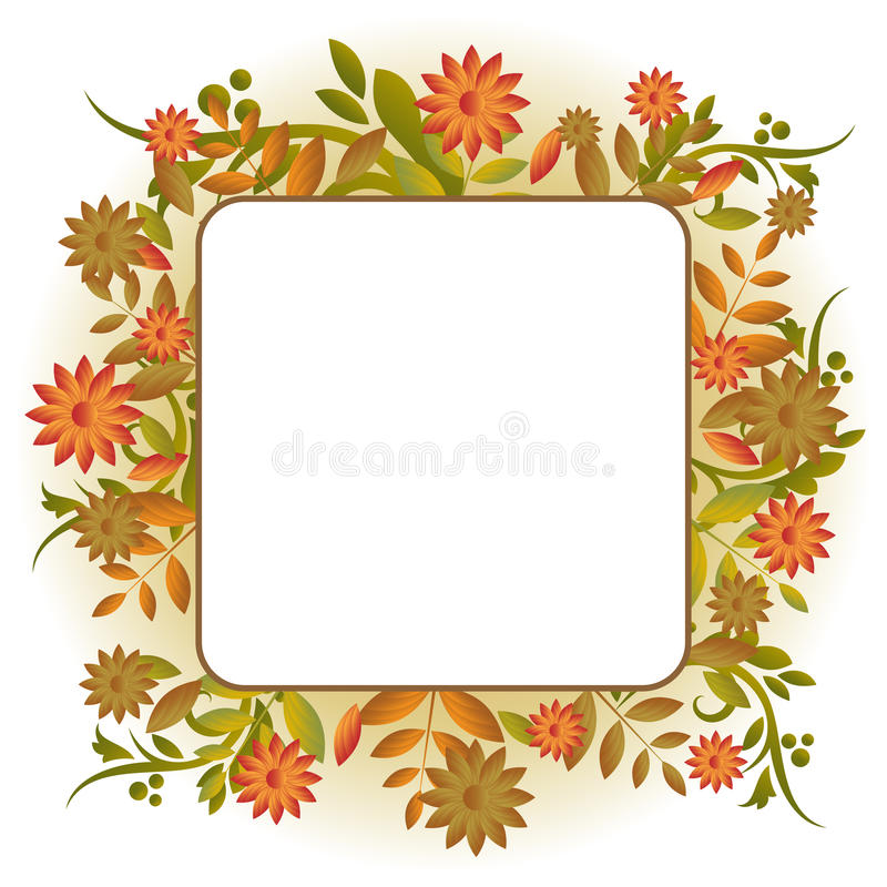 Autumn frame. Illustration of an autumn frame card with ornamental falling leaves,isolated on white background.Useful also invitation or greeting card.EPS file