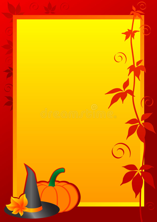 Autumn Frame. With pumpkin and witch hat for Halloween. Vector illustration stock illustration