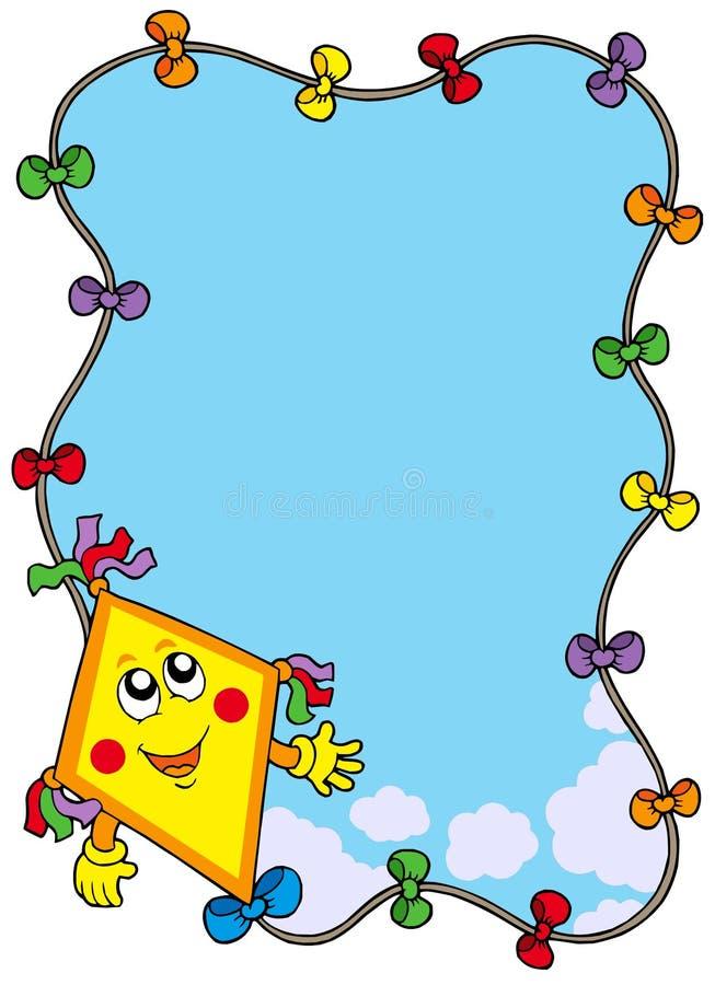 Autumn frame with cartoon kite royalty free illustration