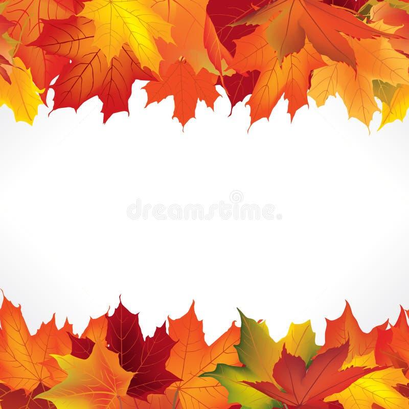 Autumn Frame com folhas Beira sem emenda da folha da queda ilustração stock