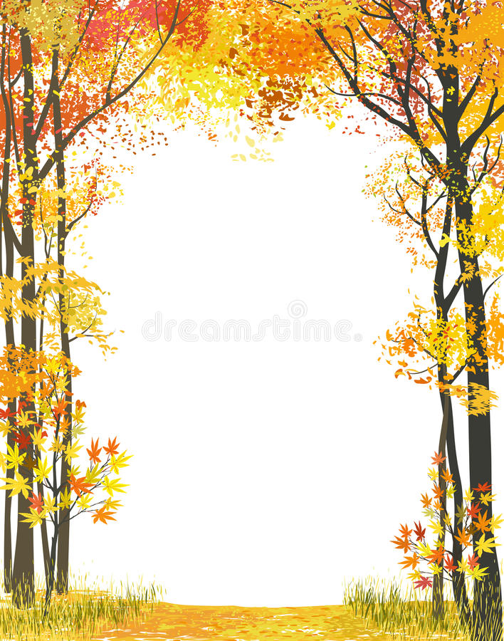 Download Autumn frame stock vector. Image of forest, empty, bright - 33537714