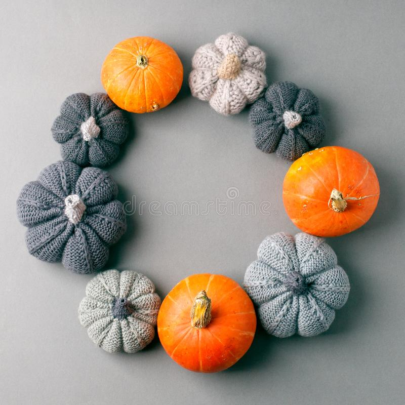 Autumn frame with dry leaves, natural and decorative pumpkins shape of wreath on gray background, seasonal halloween, thanksgiving royalty free stock image