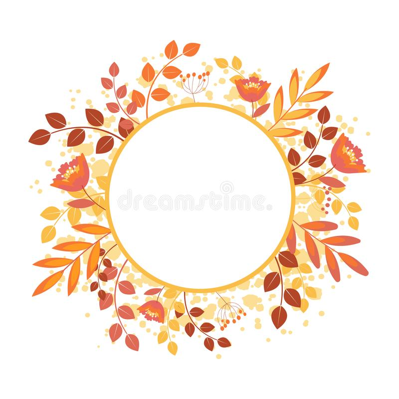 Autumn Frame with leaf and abstract elements. Template for greeting cards, postcards. Isolated vector illustration stock illustration