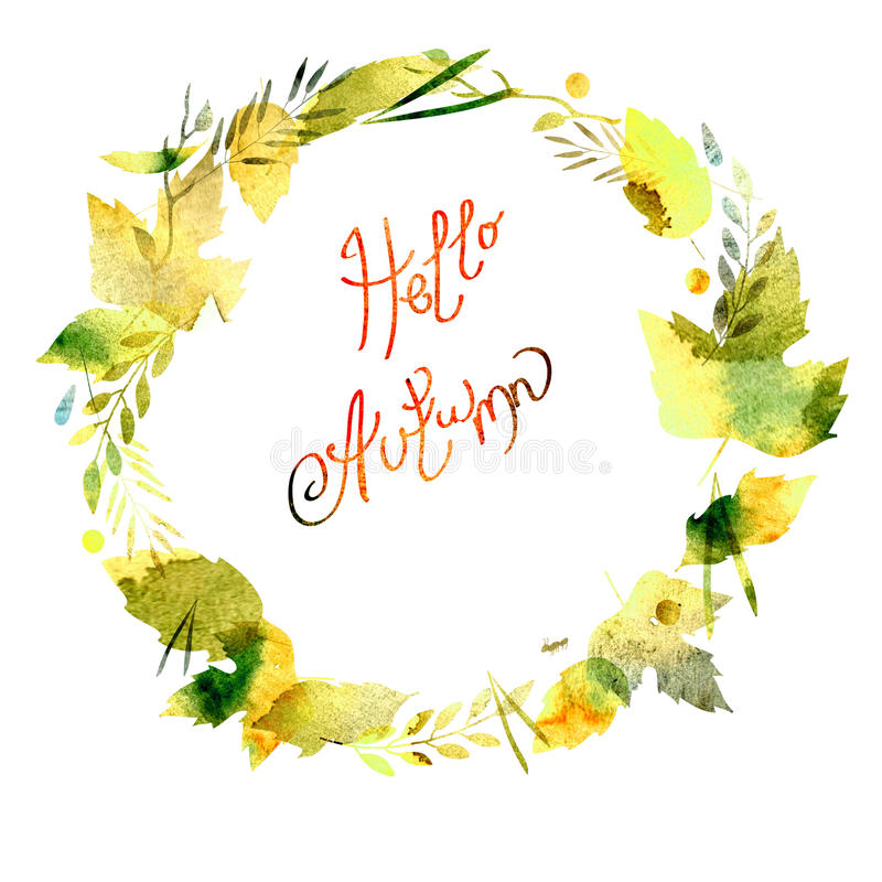 Autumn frame with leaves, berries, branches, autumn elements. Caption Hello autumn. watercolor texture yellow, green, brown, ocher vector illustration