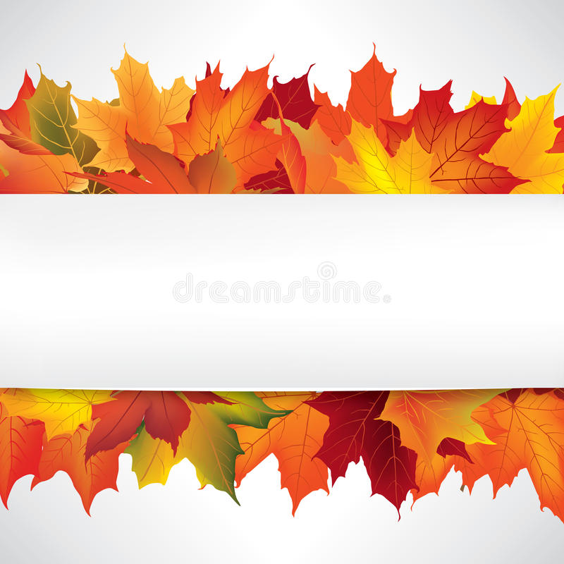 Autumn frame with leaves. Fall background with copy space. stock illustration