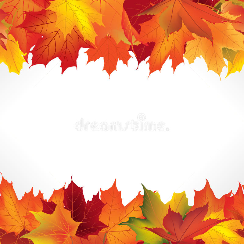 Autumn frame with leaves. Fall leaf seamless border stock illustration