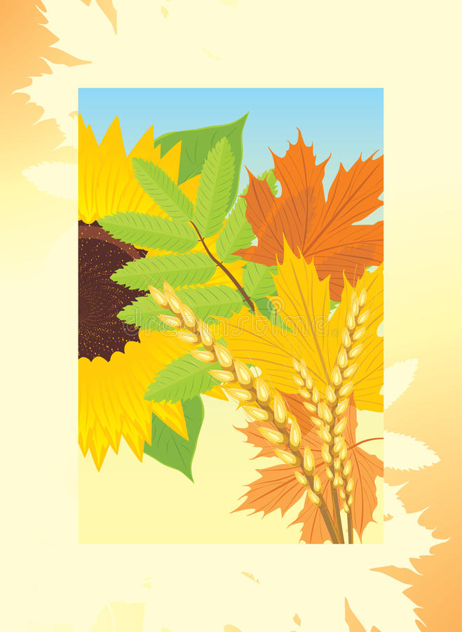 Download Autumn Frame With Leaves, Sunflower And Wheat Ears Stock Vector - Image: 21322378