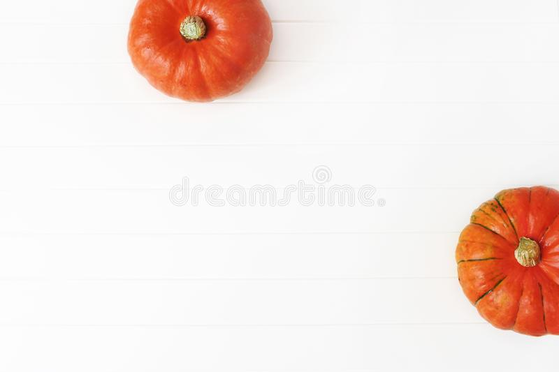 Autumn frame made of orange Hokkaido pumpkins isolated on white wooden table background. Fall, Halloween and stock images