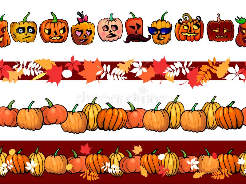 Autumn frame seamless pattern border template with pumpkins and fall leaves set royalty free illustration