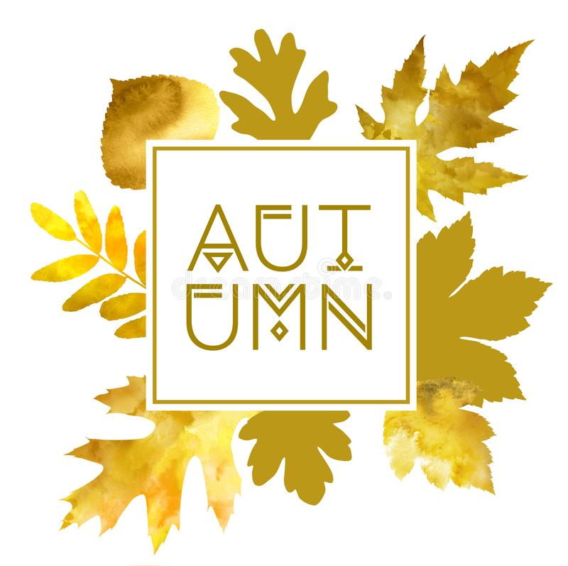 Autumn frame with watercolor golden leaves stock illustration