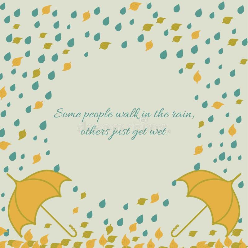 Free Autumn Frame With Umbrella Under Rain And Leaf Stock Photo - 56992670
