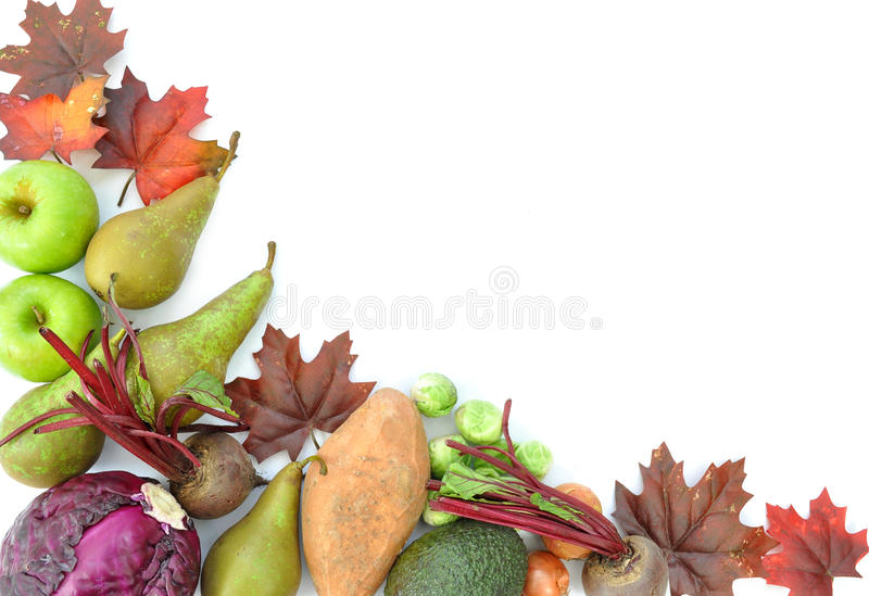 Autumn fruit border. Border made of autumn leaves, and seasonal fruits and vegetables royalty free illustration