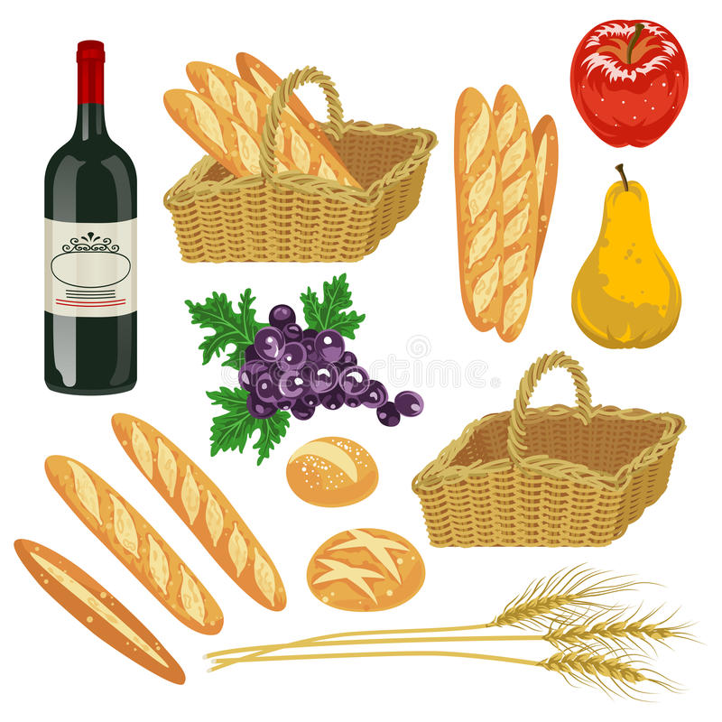 Autumn fruit and Bread,Isolated. Vector illustration of Autumn fruit and Bread,Isolated royalty free illustration