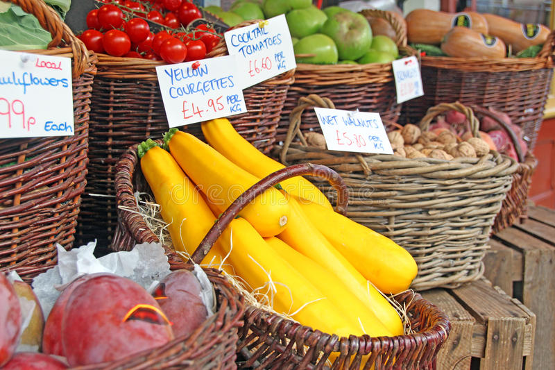 Autumn fruit and veg at market stock photos
