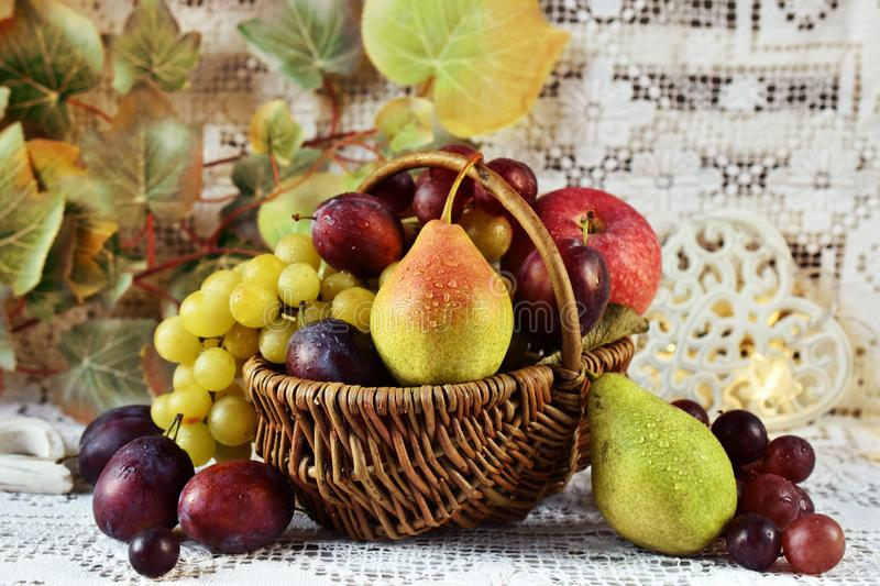 Autumn fruits in vicker basket royalty free stock image