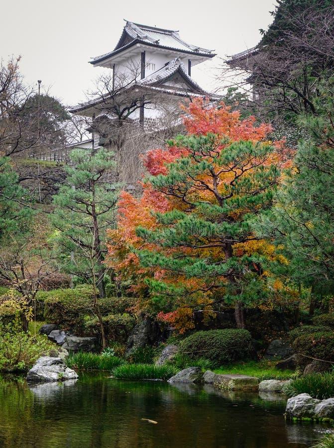 Autumn garden in Kanazawa, Japan stock photo