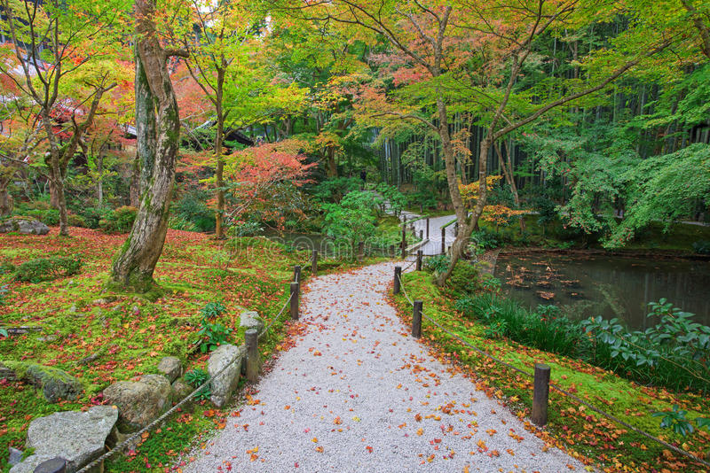 Autumn Garden and pond at Enkoji temple. Autumn colorful Japanese Garden and pond at Enkoji temple in Kyoto, Japan. Here is the Rinzai Zen Sect, situated in stock photo