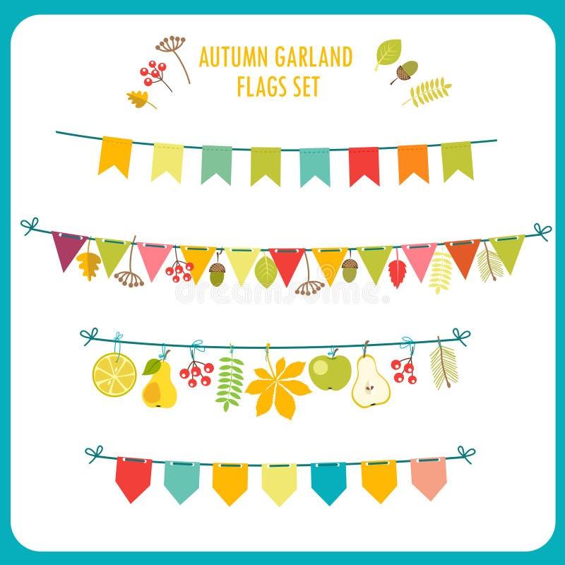 Autumn Garland And Flags Set Festlig gemkonst stock illustrationer