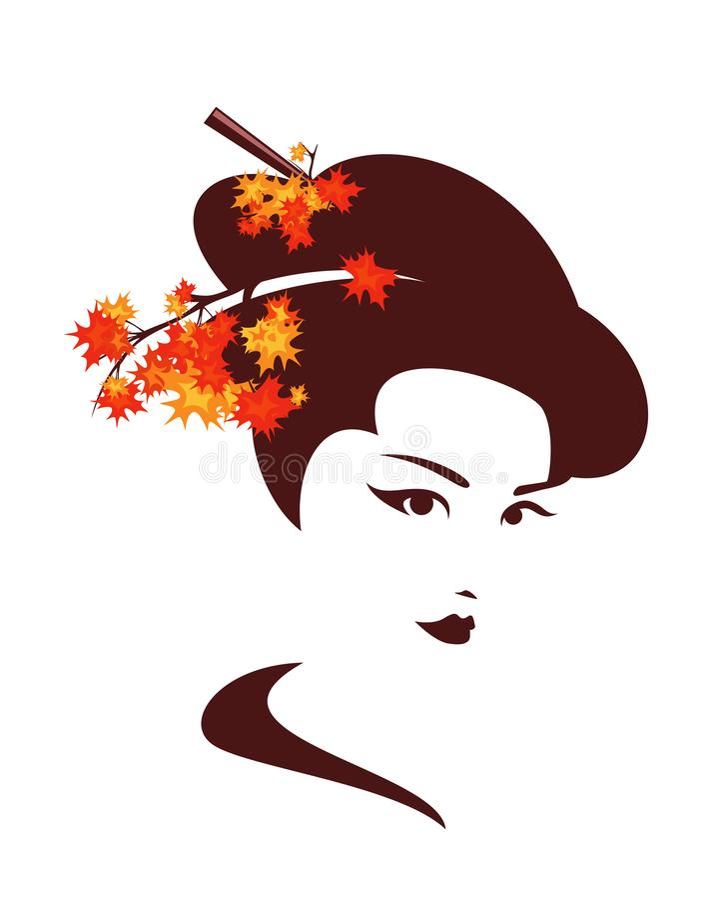 Autumn geisha with maple branches vector portrait vector illustration