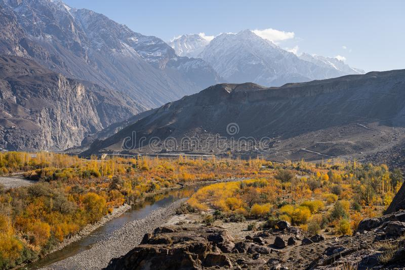 Autumn in Ghizer valley, Hindu Gush mountain range, Pakistan. Asia royalty free stock images