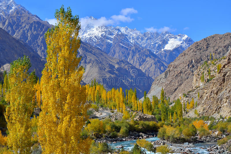 Autumn at Ghizer Valley. Northern Pakistan. Beautiful Autumn at Ghizer Valley. Northern Pakistan royalty free stock images