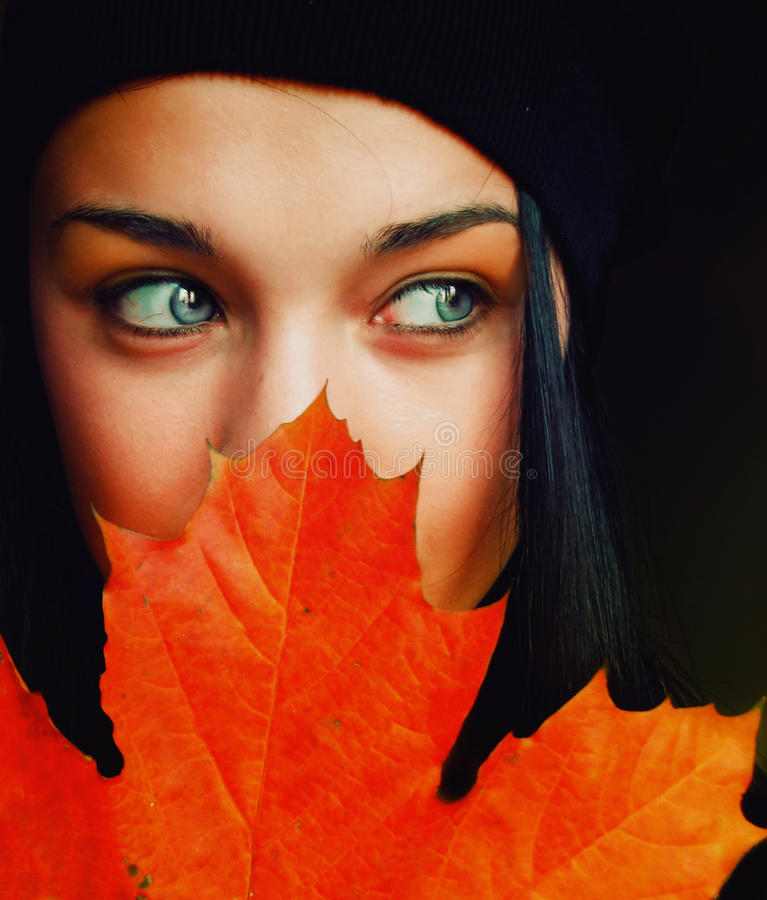 Autumn girl. Beautiful girls portrait royalty free stock photography