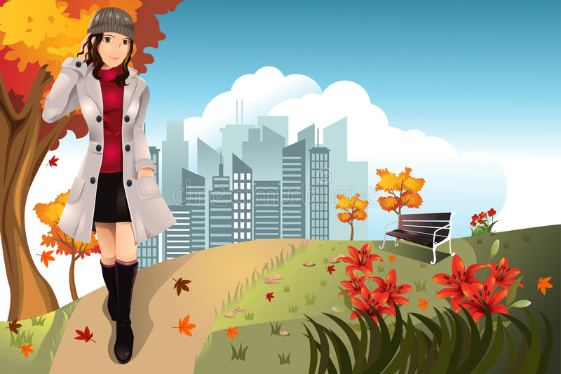 Autumn girl stock illustration