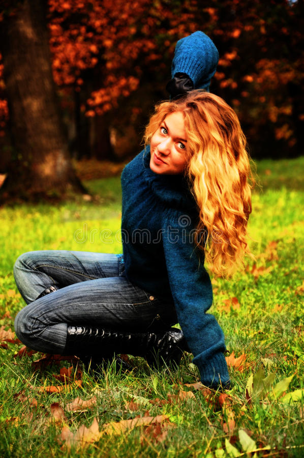 Download Autumn girl in the park stock photo. Image of adult, meadow - 20793076