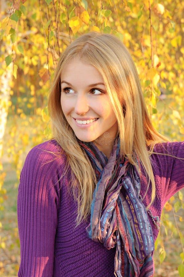 Download Autumn girl portrait stock image. Image of orange, beam - 26422535