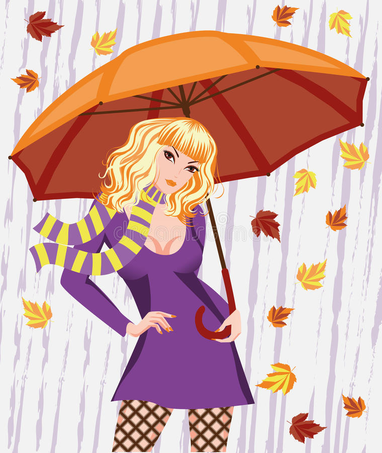 Download Autumn Girl With Umbrella Royalty Free Stock Photography - Image: 26699827