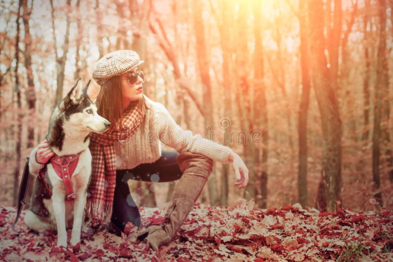 Autumn Girl walking with husky dog autumn forest. Unconditional love. Pedigree dog concept. Girl enjoy walk with husky. Dog. Best friends. Siberian husky royalty free stock images