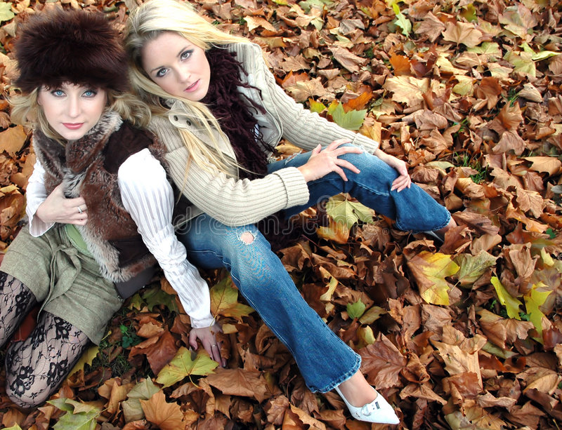 Autumn girls royalty free stock photo