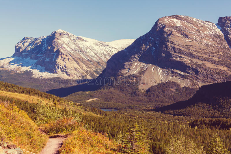 Autumn in Glacier Park. Colorful autumn view in Glacier National Park, Montana, United States royalty free stock photos