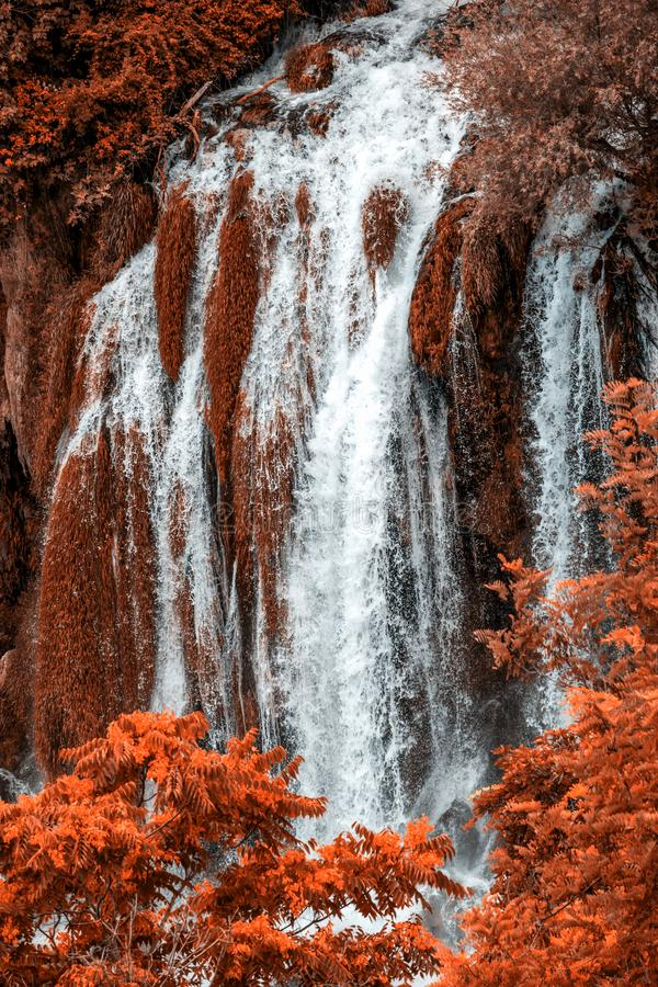 Autumn gold Kravice waterfall on the Trebizat River in Bosnia and Herzegovina. Fall  Miracle of Nature in Bosnia and Herzegovina. The Kravice waterfalls stock image