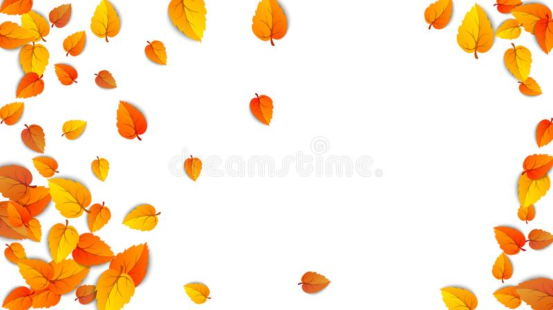 Autumn golden leaf frame template. Tree fallen autumn leaves isolated on white. October yellow foliage and autumnal vector illustration