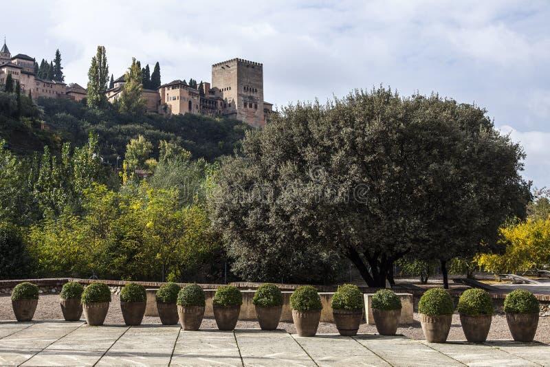 Autumn in Granada, Spain. Autumnal season in Granada with Alhambra on the background stock photo