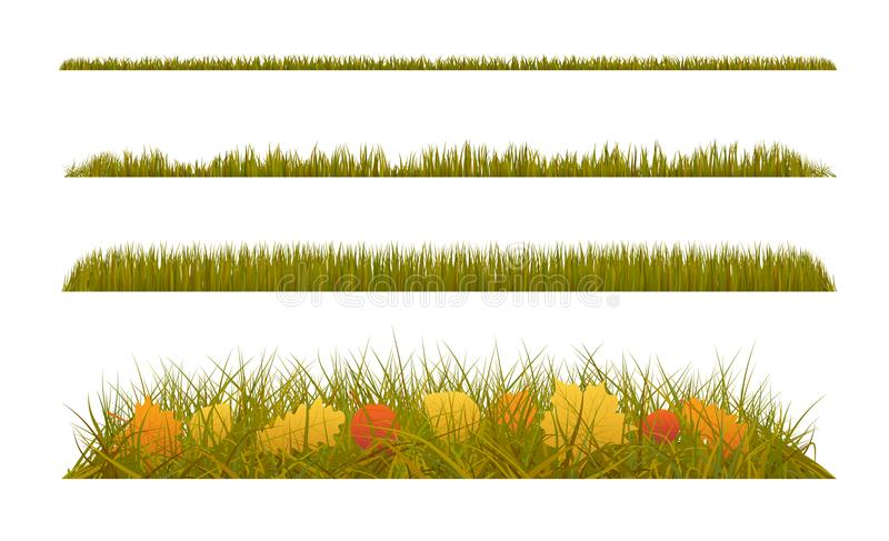Autumn grass with fall leaves on white background. Set of autumn decorations. Illustration stock illustration