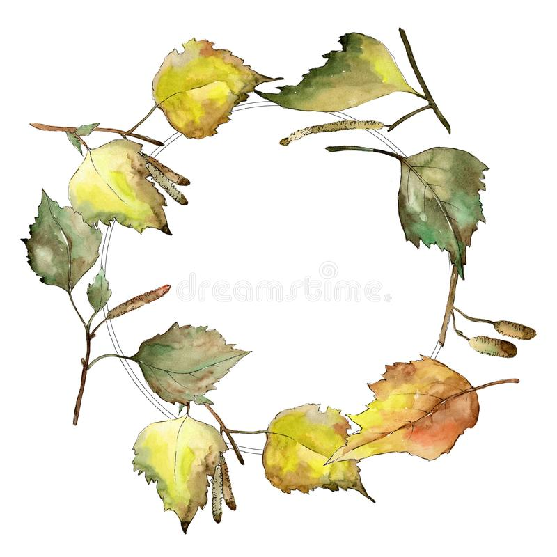 Autumn green and yellow birch leaves. Leaf plant botanical garden floral foliage. Frame border ornament square. royalty free illustration
