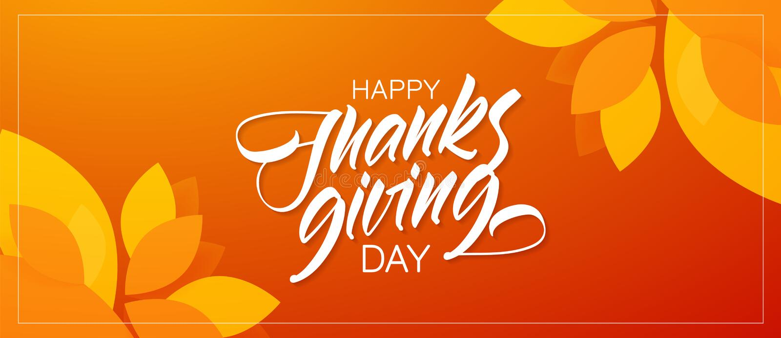 Autumn greeting banner with hand lettering composition of Happy Thanksgiving Day and fall leaves on orange background.  vector illustration