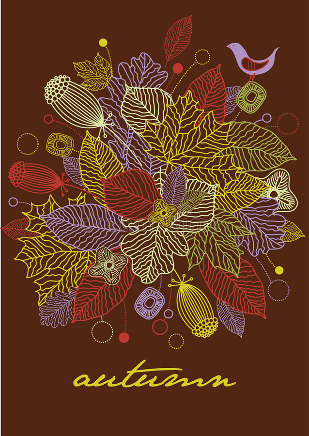 Autumn greeting card vector illustration