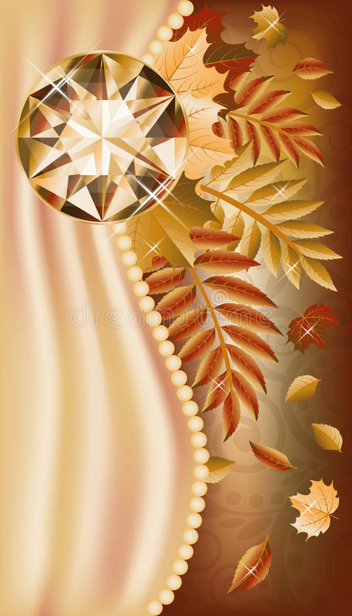 Download Autumn Greeting Card With Precious Gemstone Stock Vector - Image: 33095527