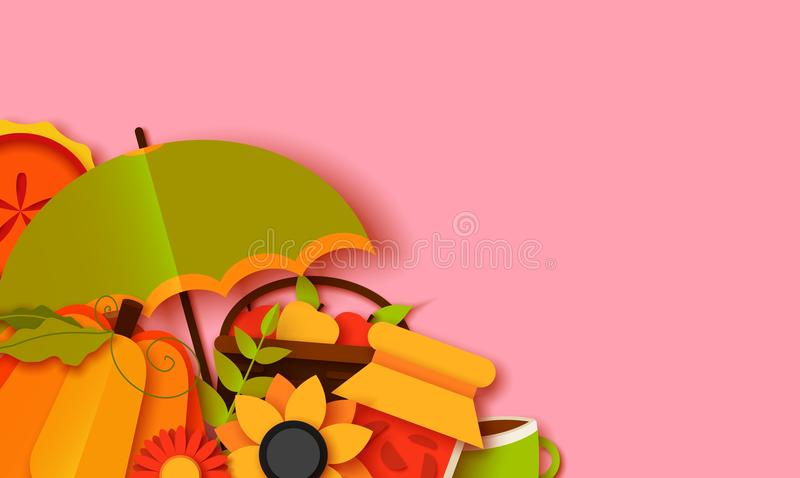 Autumn greeting card template. Fall illustration with paper cut leaves, pumpkin, pie, umbrella. jam, cup, fruits vector illustration