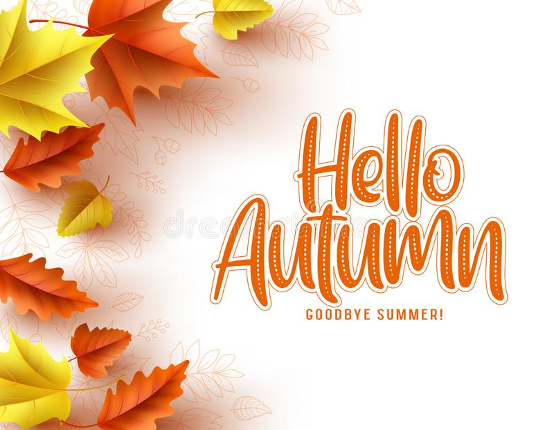 Autumn greeting card vector template. Hello autumn text with colorful dry maple and oak leaves vector illustration
