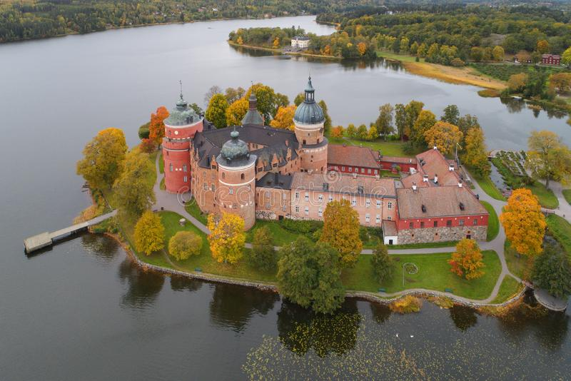 Autumn at the Gripsholm castle. Aerial view during the autumn season at the beautiful Swedish 16 th century Gripsholm castle royalty free stock images